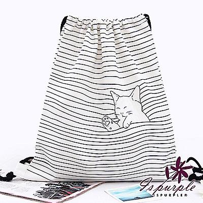 iSPurple 條紋躲貓貓 束口抽繩帆布後背包