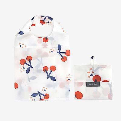 Dailylike 摺疊口袋購物袋S-03櫻桃白