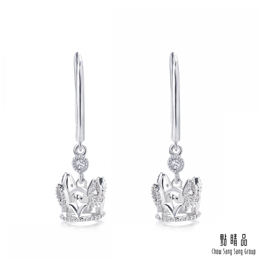 點睛品 V&A 18KW K白金皇冠鑽石耳環