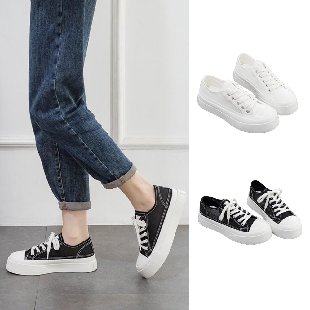 LN  現+預 韓版網面休閒帆布鞋(休閒鞋/厚底鞋) (黑色)