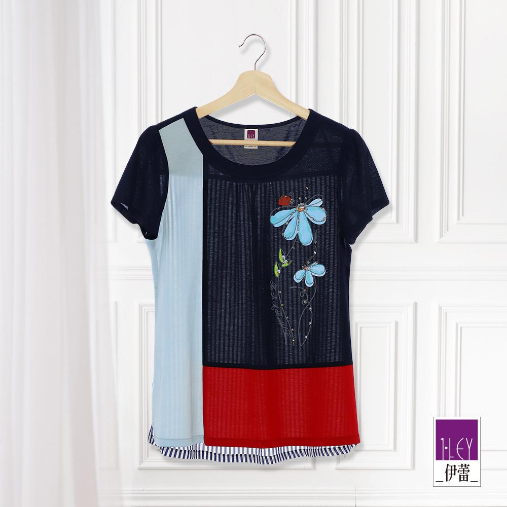 ILEY伊蕾 縫珠印花色塊拼接絲光棉上衣(藍)