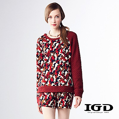 IGD英格麗 亮色迷彩拼接毛料菱格紋上衣-紅色