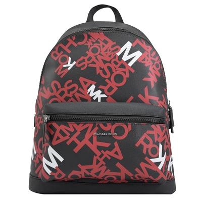 MICHAEL KORS COOPER 個性滿版LOGO PVC拉鍊後背包(黑/紅)