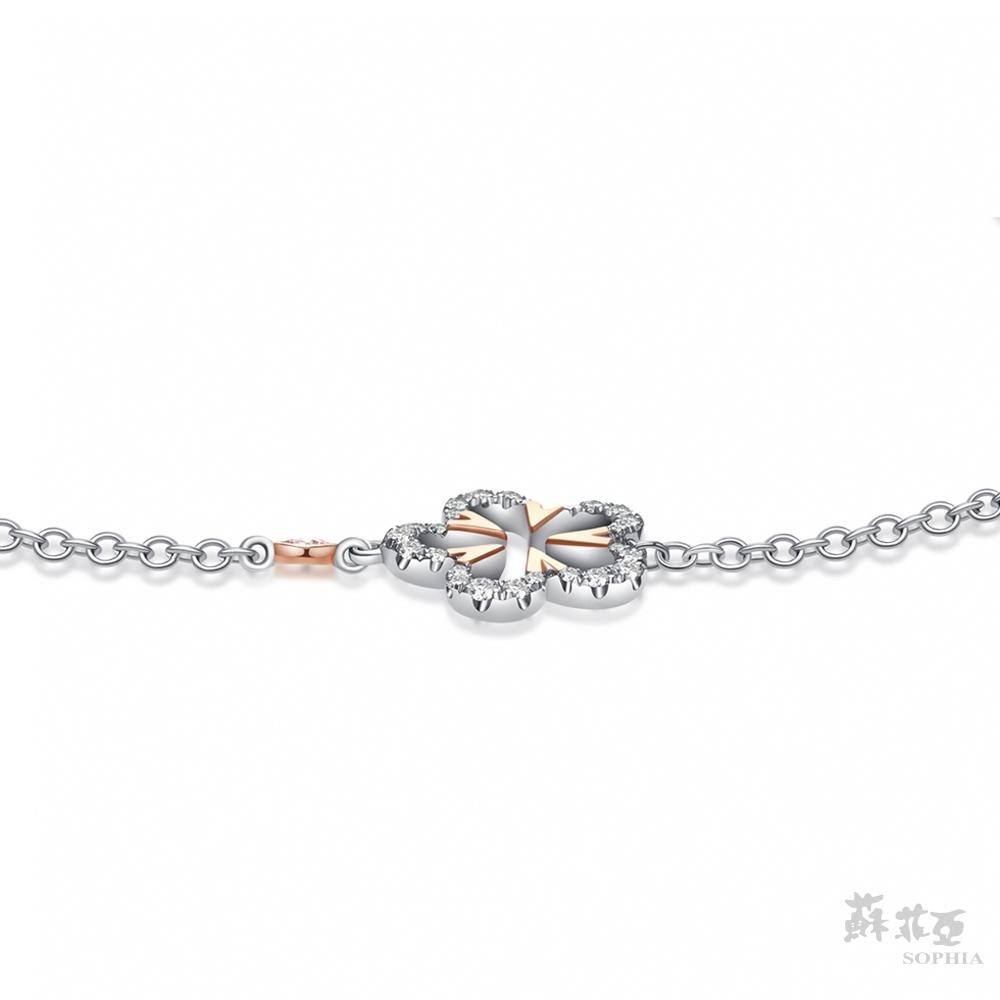 SOPHIA 蘇菲亞珠寶 - 初春花戀 18K雙色(玫瑰金+白金) 鑽石手鍊