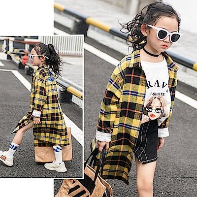 小衣衫童裝   中大童帥氣女孩黃格紋長袖長版外套襯衫1071012