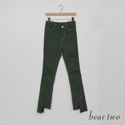 beartwo-造型褲口休閒褲-綠