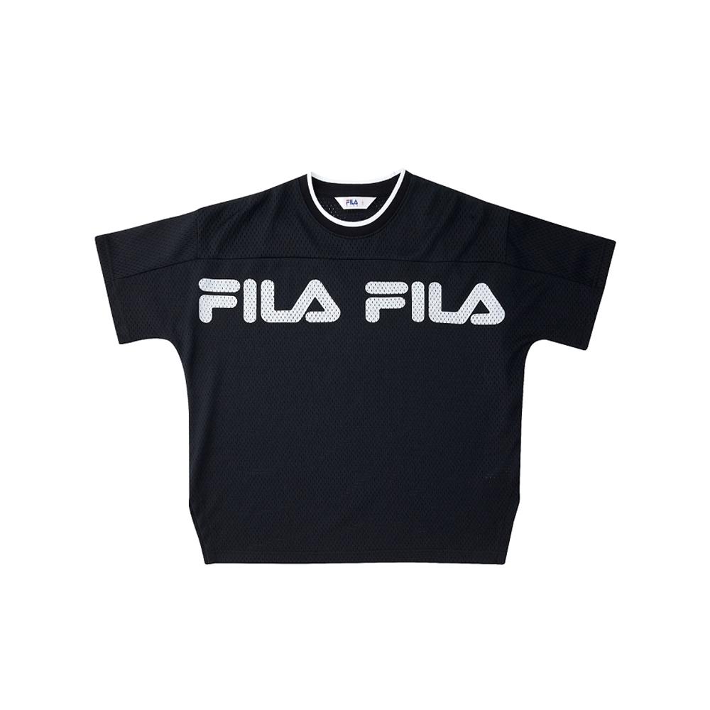 FILA KIDS #架勢新潮 童短袖籃球上衣-黑色 1TEV-4406-BK