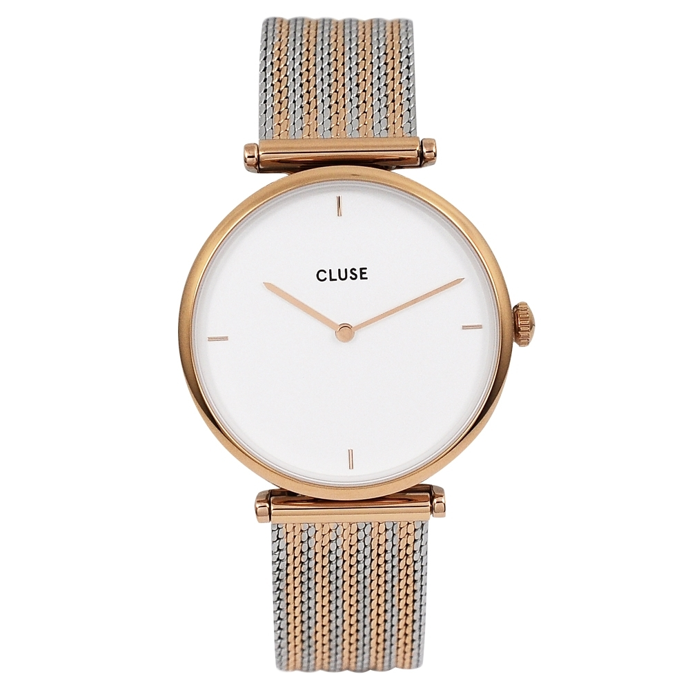 CLUSE荷蘭精品手錶 Triomphe系列 白錶盤/銀x玫瑰金米蘭錶帶33mm