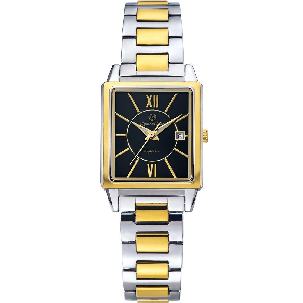 Olympia Star 奧林比亞之星 經典時尚羅馬方型女錶-雙色*黑 58065LSK