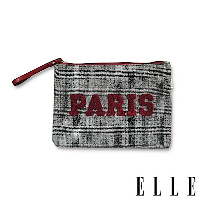 ELLE PARIS千鳥/格紋短毛皮革拼接手拿包-2色 G30029