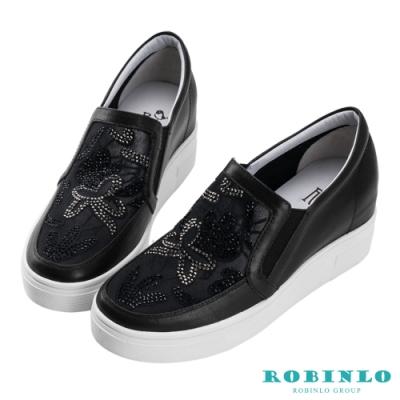 Robinlo 閃耀微透花朵牛皮內增高休閒鞋 黑色