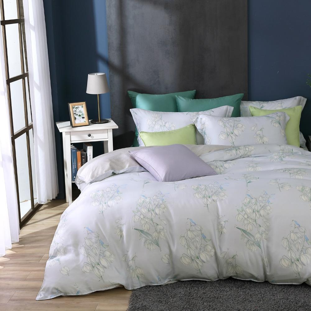 鴻宇 雙人加大床包薄被套組 天絲300織 莎漫 台灣製
