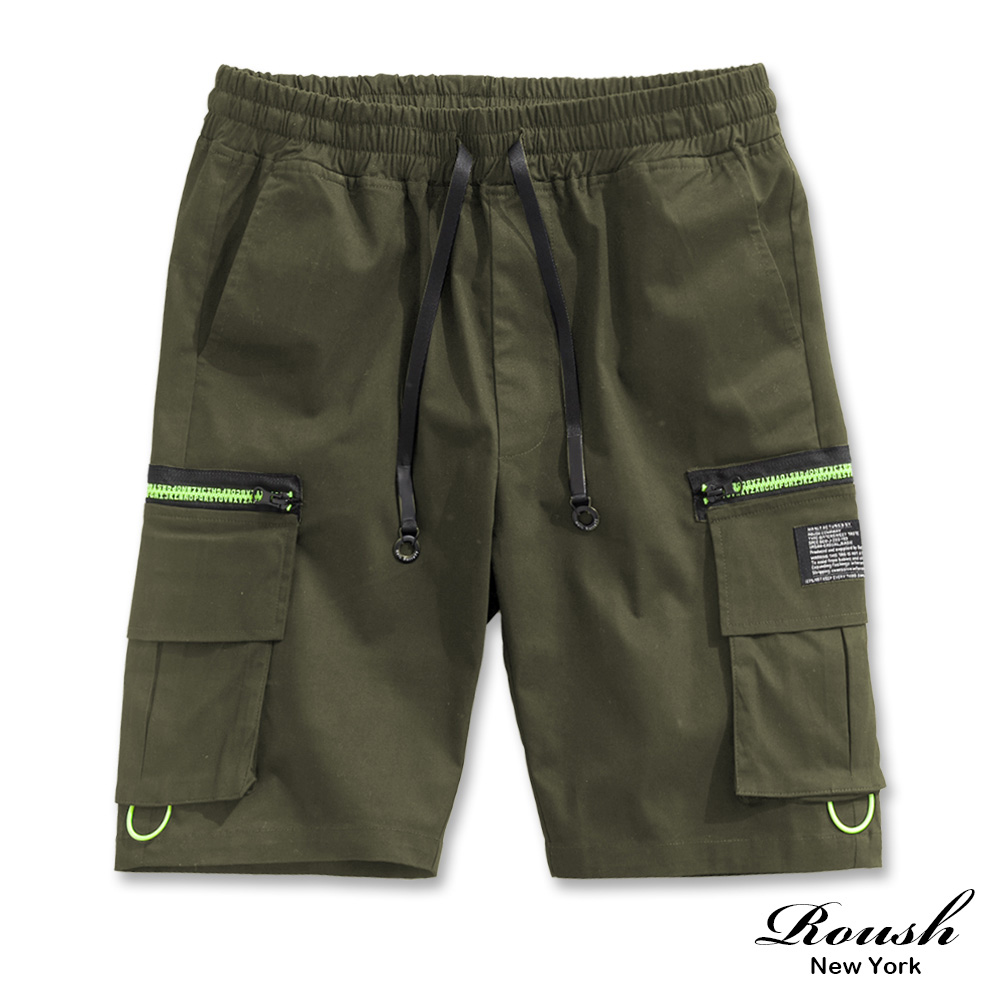 Roush 螢光拉鍊雙口袋工裝短褲(2色)