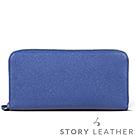 STORYLEATHER Style 90005 牛皮長夾 十字紋海軍藍