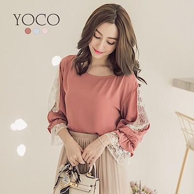 東京著衣-yoco 日系美人纖臂蕾絲七分多色袖雪紡上衣-S.M.L(共三色)