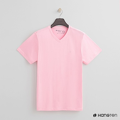 Hang Ten - 男裝 - 有機棉小V領純色T恤 - 粉