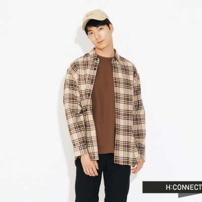 H:CONNECT 韓國品牌 男裝-亮彩格紋襯衫-卡其