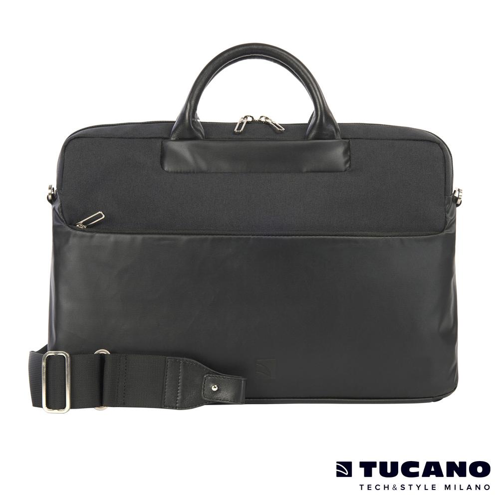 TUCANO Duetto 質感亮面時尚電腦包 15吋-黑