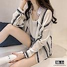 Jilli-ko 韓版短款條紋防曬衫- 橘/藍