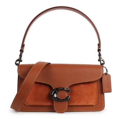COACH TABBY細緻皮革拼接麂皮手拿/手提/肩斜背多用包-棕色