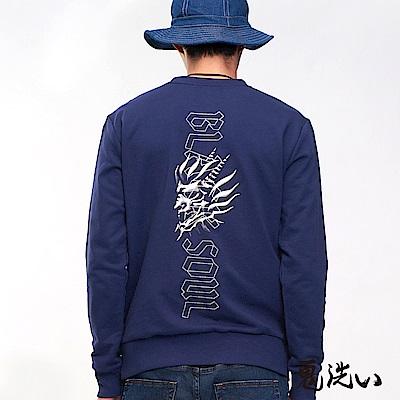 鬼洗 BLUE WAY  側鬼精繡字束下擺TEE(藏青)