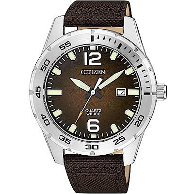 CITIZEN星辰 經典潛水造型百米防水石英錶(BI1041-14X)-咖啡/42mm