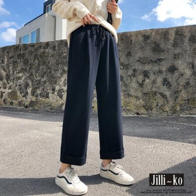 JILLI-KO 高腰寬鬆毛呢闊腿褲- 黑色