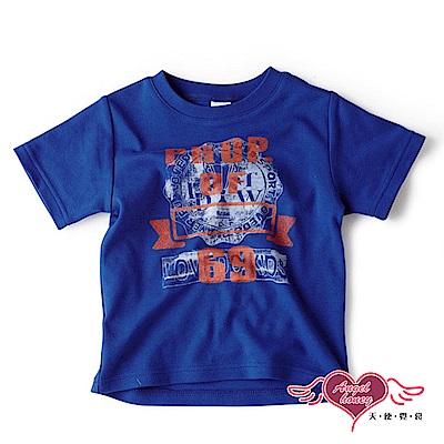 【天使霓裳-童裝】運動潮流 學院風圖騰兒童短袖T恤上衣(藍)