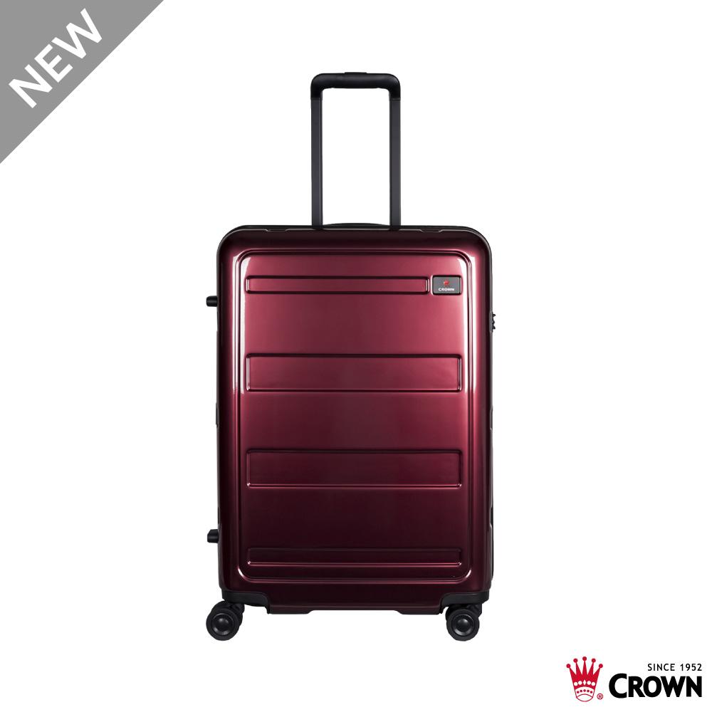 CROWN 皇冠 21吋 拉鍊拉桿箱 行李箱 旅行箱 棗紅