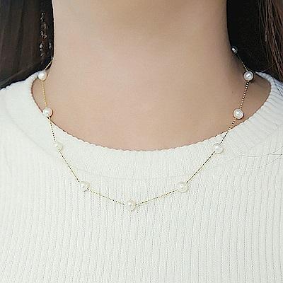 梨花HANA  韓國女人味純真質感珍珠鎖骨鍊