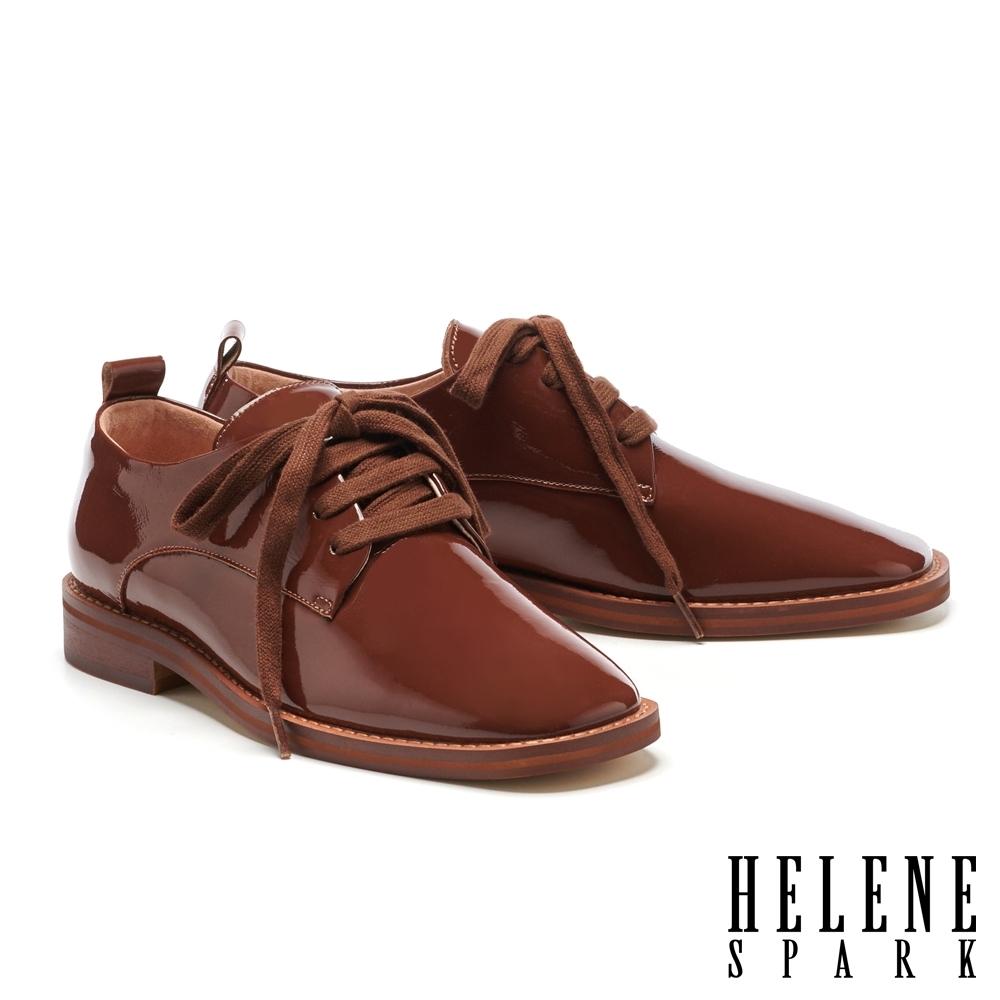低跟鞋 HELENE SPARK 文藝復古格調綁帶方頭低跟鞋-咖