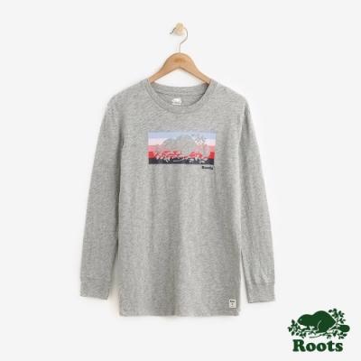 女裝ROOTS - 彩條海狸長袖T恤-灰色