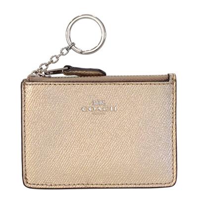 COACH香檳金防刮皮革後卡夾鑰匙零錢包
