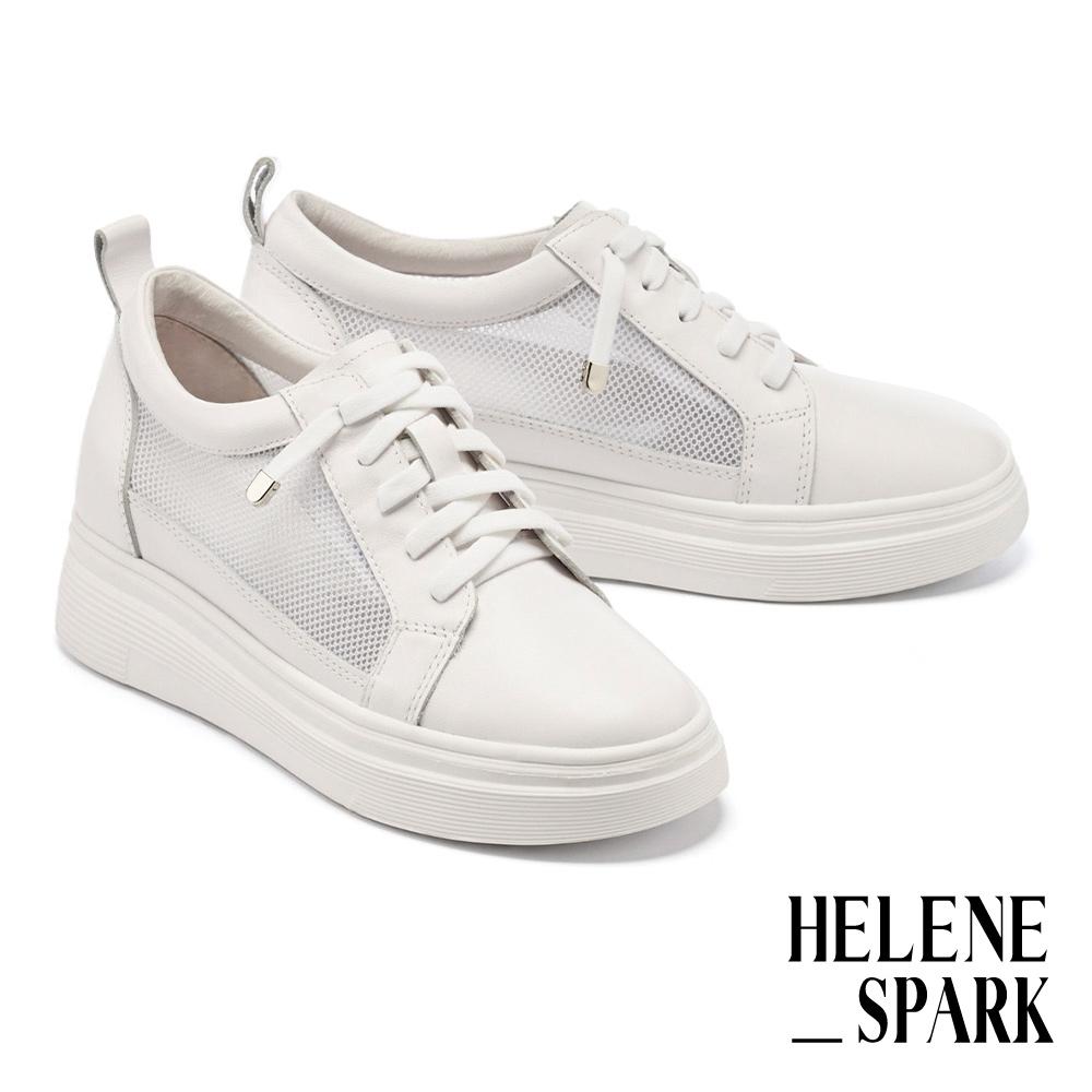 休閒鞋 HELENE SPARK 率性日常異材質彈力鞋帶厚底休閒鞋-白