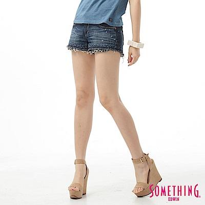 SOMETHING 短褲 NEO豹紋印花牛仔褲-女-原藍磨