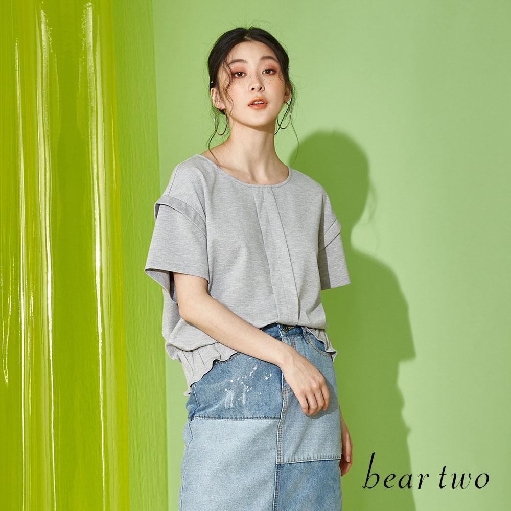 beartwo 基本素色抓皺設計上衣(二色)