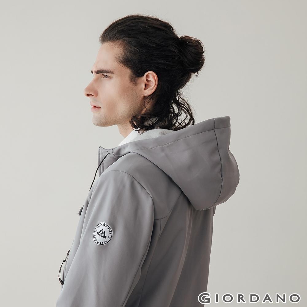GIORDANO 男裝Softshell 三合一高機能刺繡徽章連帽外套-01 銀灰