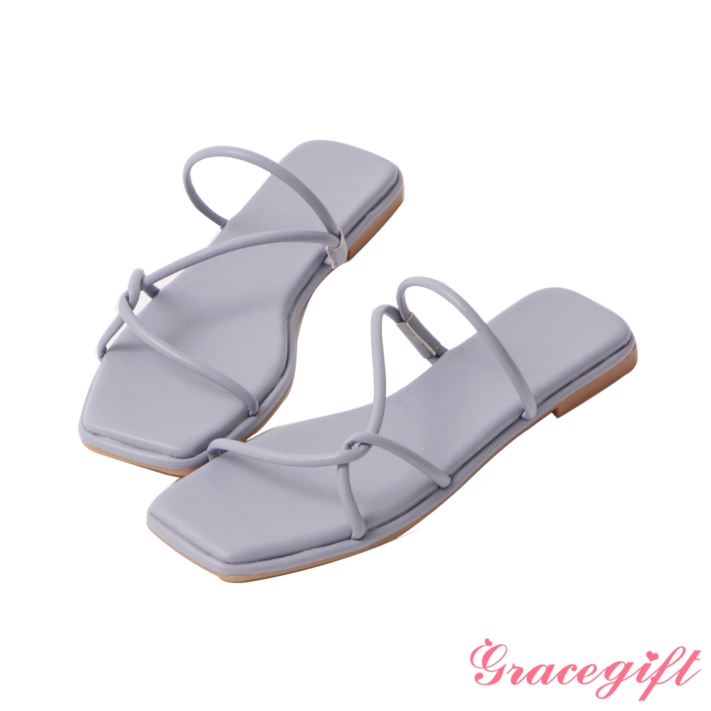 Grace gift-層次細帶平底涼拖鞋 藍