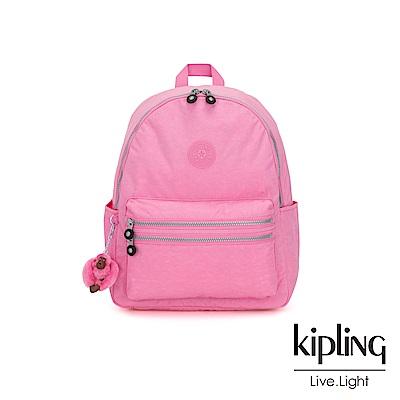 Kipling 甜美糖果粉拉鍊後背包-BOUREE