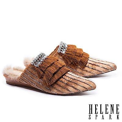 拖鞋 HELENE SPARK 復古極繁流蘇鑽飾金蔥絨布尖頭穆勒拖鞋-棕