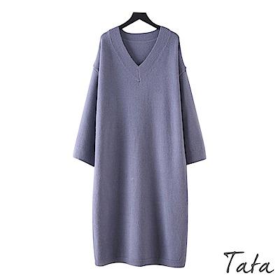V領寬鬆針織洋裝 共二色 TATA