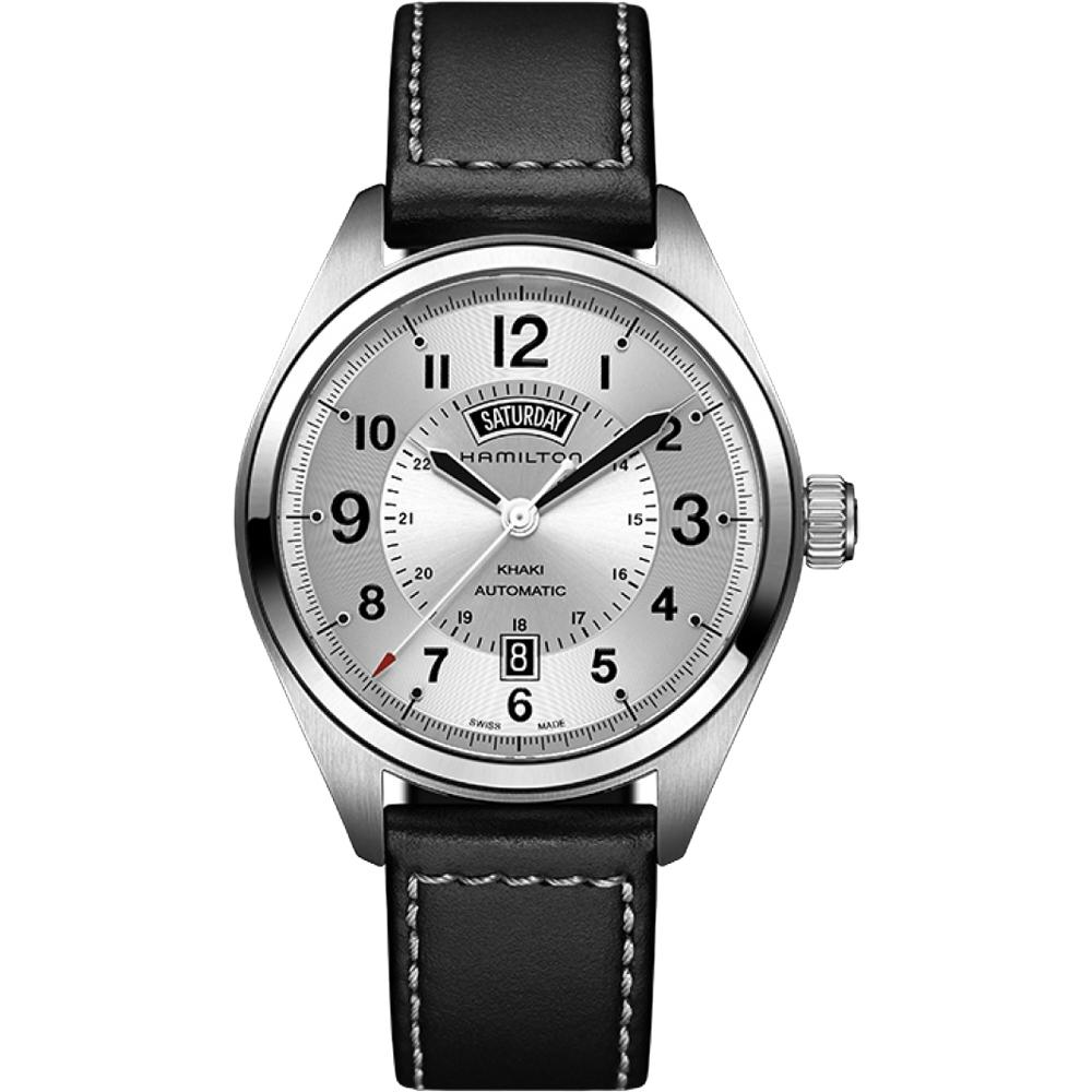 (無卡分期12期)Hamilton 漢米爾頓 卡其野戰機械錶-銀x黑/42mm