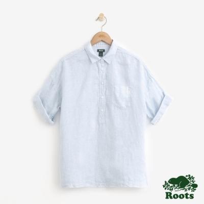 女裝Roots 半開短袖襯衫-藍