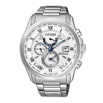 CITIZEN 紳士典雅光動能電波計時腕錶/白/AT9080-57A