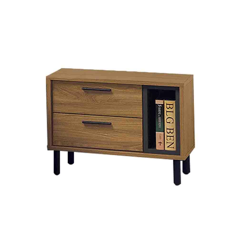 柏蒂家居-摩斯特工業風1.9尺床頭櫃/二抽收納櫃-76x40x45cm