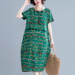 條紋圓環時尚印花寬鬆棉麻洋裝L-XL(共三色)-Keer