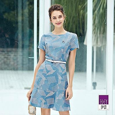 ILEY伊蕾 幾何印花亞麻洋裝(藍)