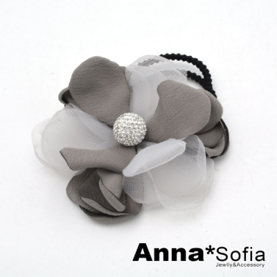 【滿額再7折】AnnaSofia 鑽芯層紗瓣 純手工彈性髮束髮圈髮繩(雅灰系)
