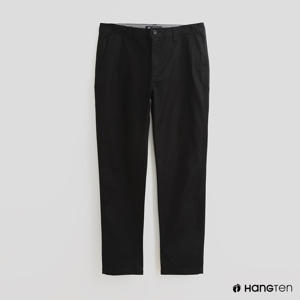 Hang Ten - 男裝 - 簡約修身純色休閒長褲 - 黑