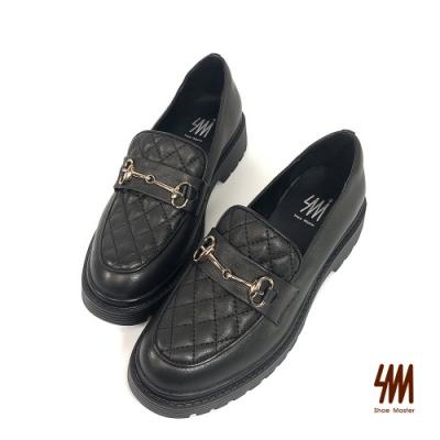 SM-格紋雙C馬蹄扣跟樂福鞋(粉圓黑)